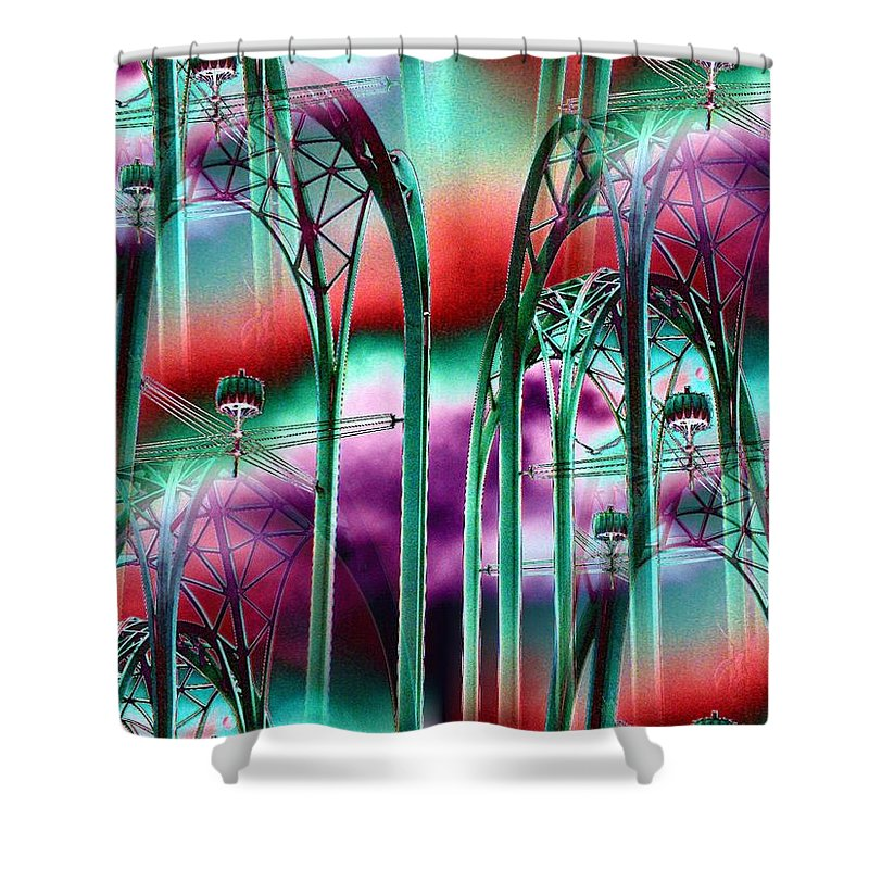 Seattle Shower Curtain featuring the digital art Arches by Tim Allen