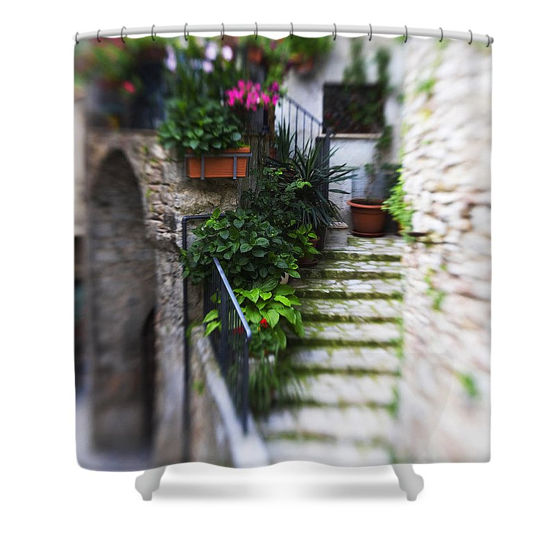 Italy Shower Curtain featuring the photograph Archway And Stairs by Marilyn Hunt