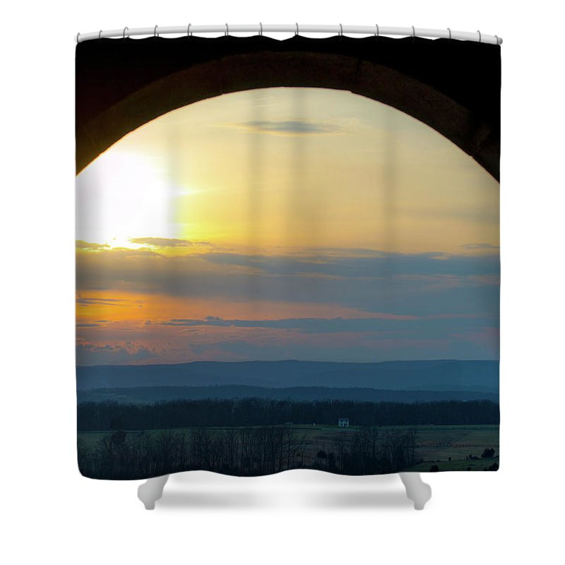 Arch Shower Curtain featuring the photograph Archway Landscape by Ron Valenzia