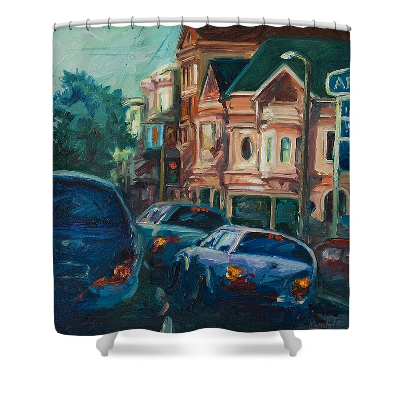 Trees Shower Curtain featuring the painting Arco by Rick Nederlof