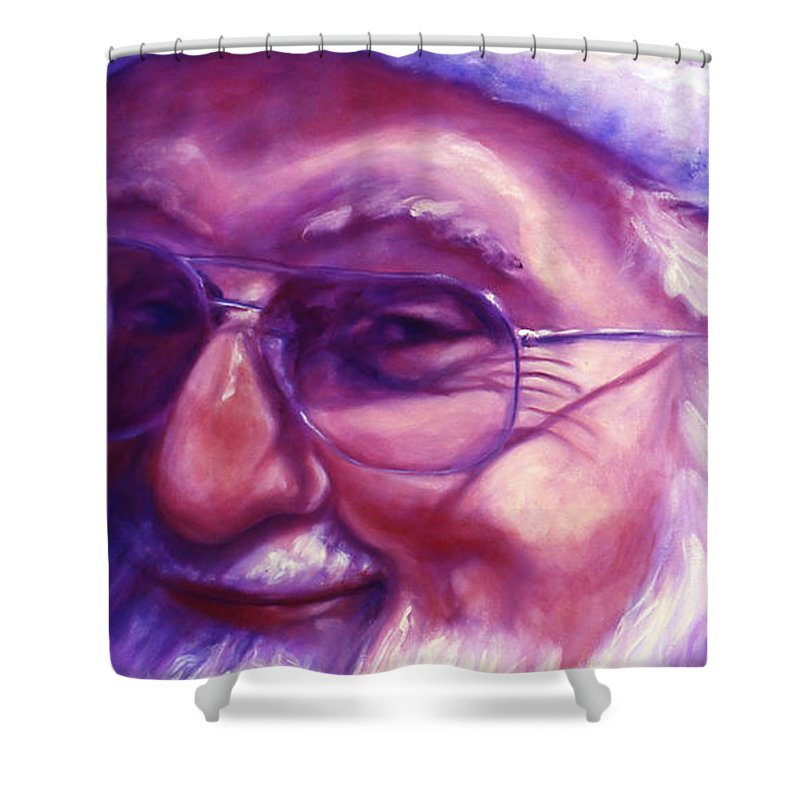 Portrait Shower Curtain featuring the painting Are You Sure You Have Been Nice by Shannon Grissom