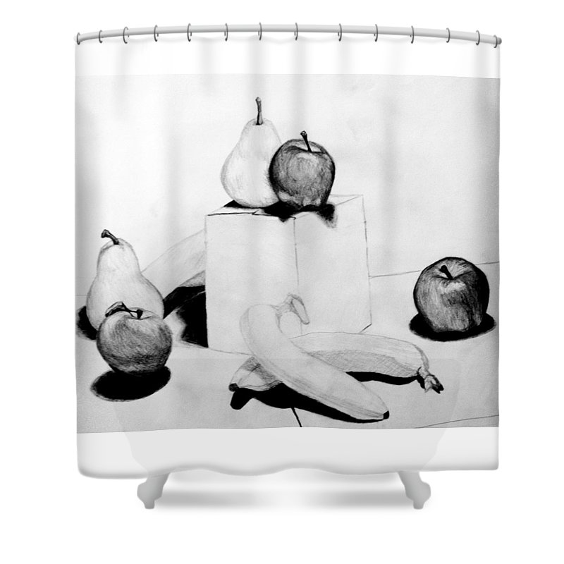 Apple Shower Curtain featuring the drawing Aren't You Glad I Didn't Say Banana by Jean Haynes