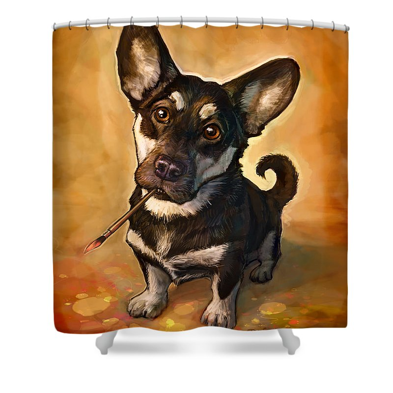 Dog Shower Curtain featuring the painting Arfist by Sean ODaniels