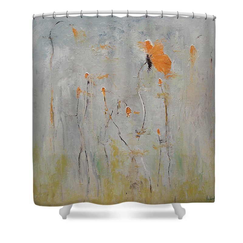 Floral Shower Curtain featuring the painting Aria by Barbara Andolsek