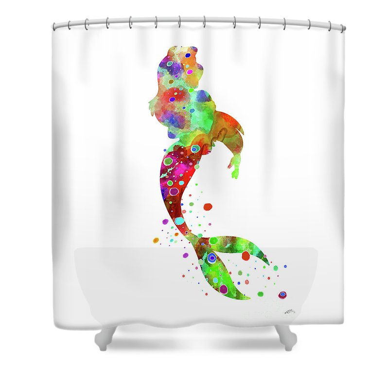 Ariel Watercolor Print Shower Curtain Featuring The Digital Art By Svetla Tancheva
