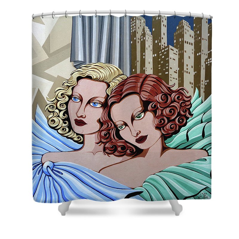 Portrait Shower Curtain featuring the painting Arielle And Gabrielle by Tara Hutton
