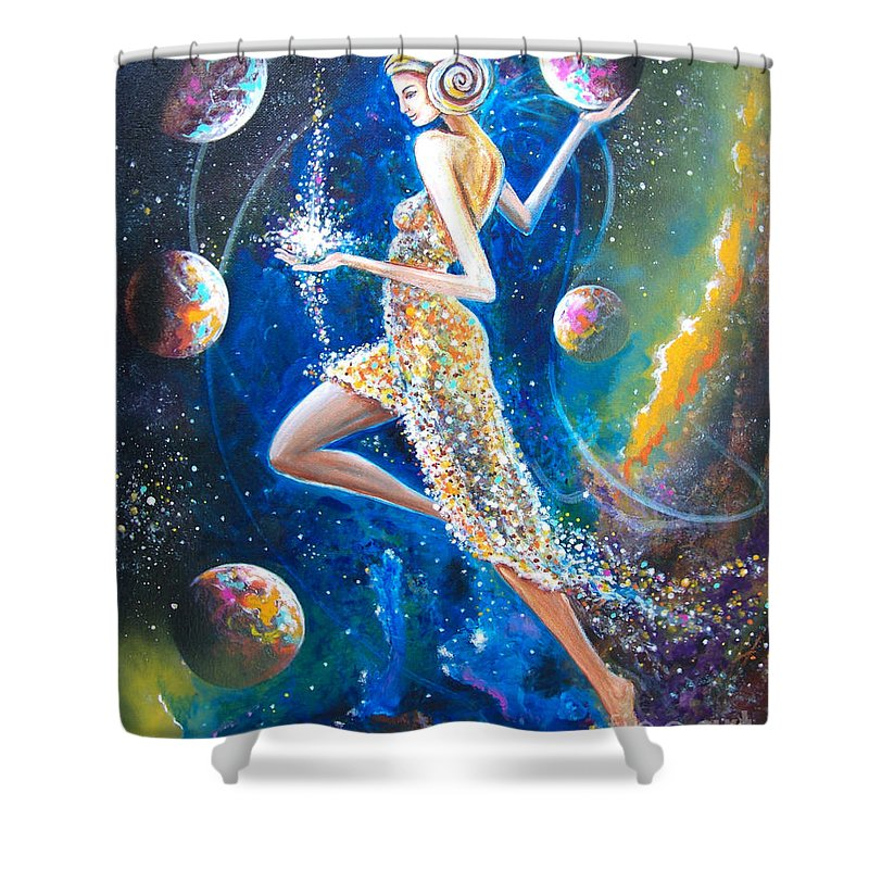 Allegory Shower Curtain featuring the painting Aries by Serge M