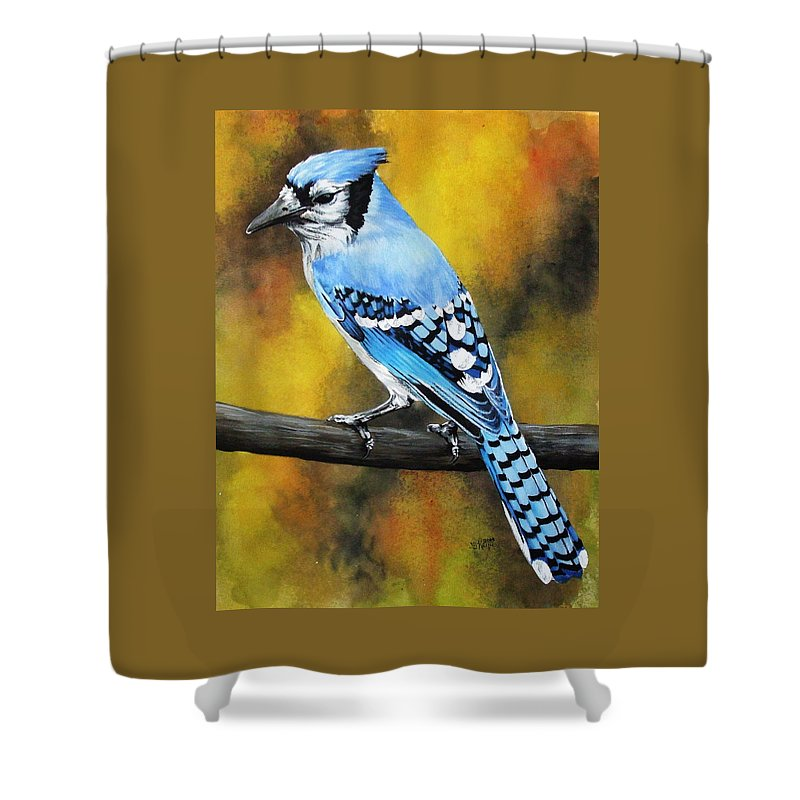 Common Bird Shower Curtain featuring the painting Aristocrat by Barbara Keith