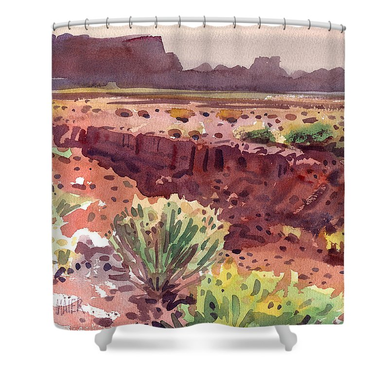 Arroyo Shower Curtain featuring the painting Arizona Arroyo by Donald Maier