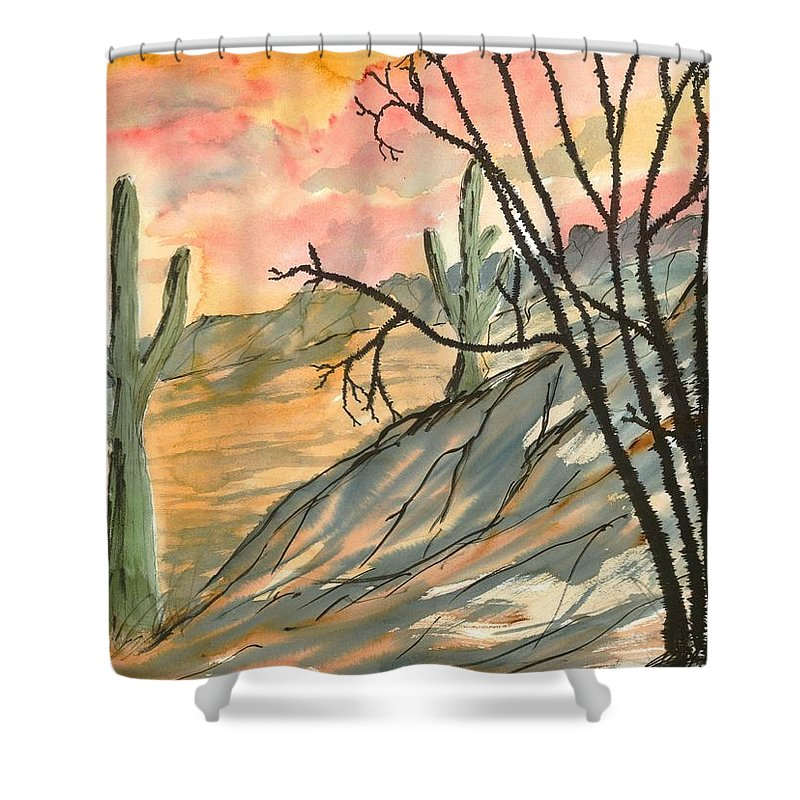 Drawing Shower Curtain featuring the painting Arizona Evening Southwestern landscape painting poster print by Derek Mccrea