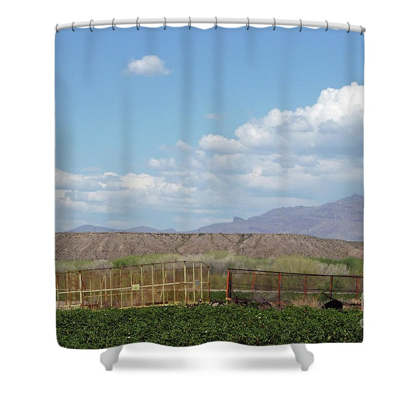 Arizona Farming Shower Curtain featuring the photograph Arizona Farming by Methune Hively