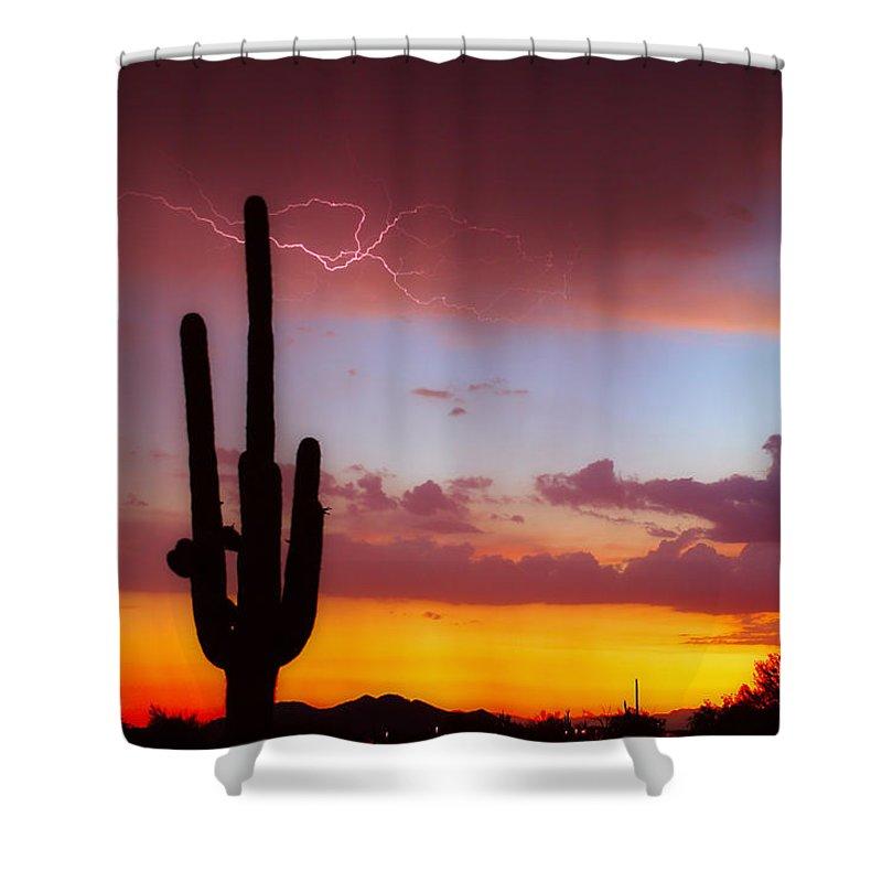Arizona Shower Curtain featuring the photograph Arizona Lightning Sunset by James BO Insogna
