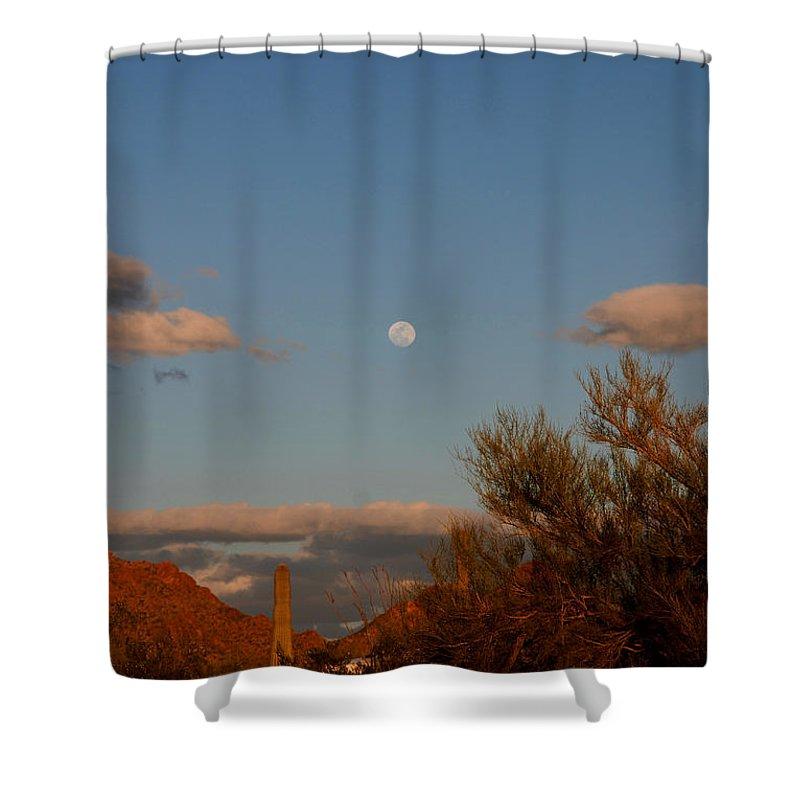 Arizona Shower Curtain featuring the photograph Arizona Moon II by Susanne Van Hulst