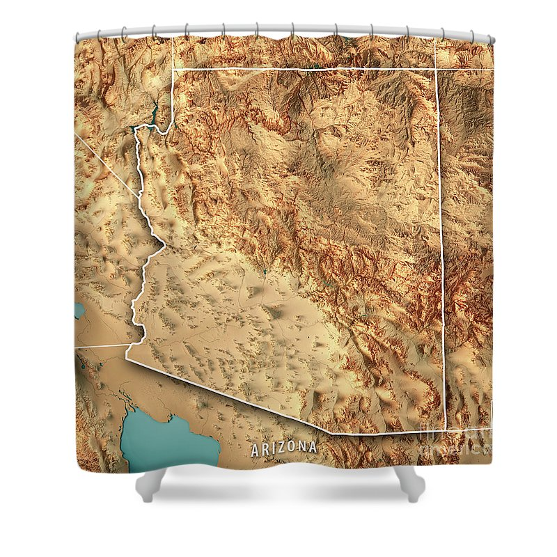 Map Of Usa Arizona.Arizona State Usa 3d Render Topographic Map Border Shower Curtain