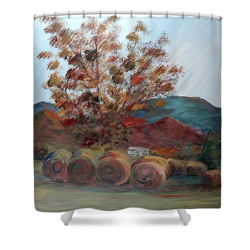 Autumn Shower Curtain featuring the painting Arkansas Autumn by Nadine Rippelmeyer