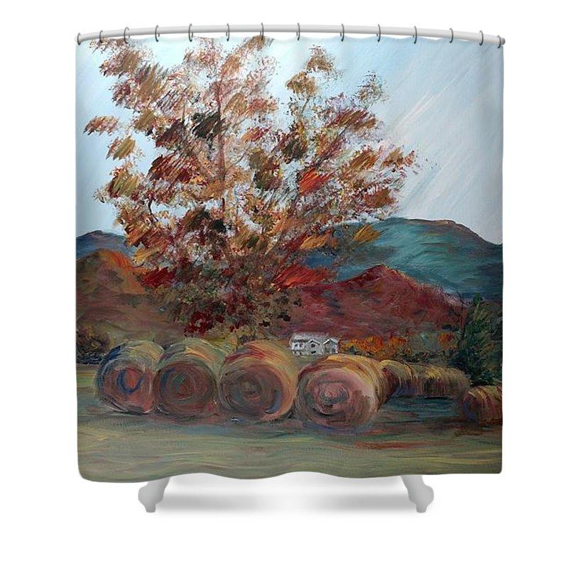 Autumn Shower Curtain featuring the painting Arkansas Autumn by Nadine Rippelmeyer