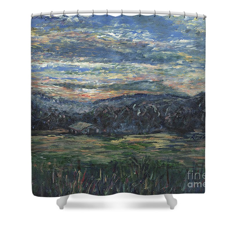 Impressionism Shower Curtain featuring the painting Arkansas Sunrise by Nadine Rippelmeyer