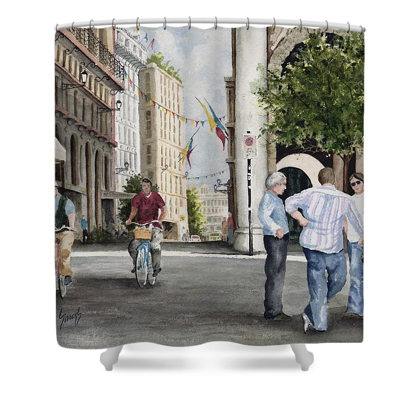 Arles Shower Curtain featuring the painting Arles Street by Sam Sidders