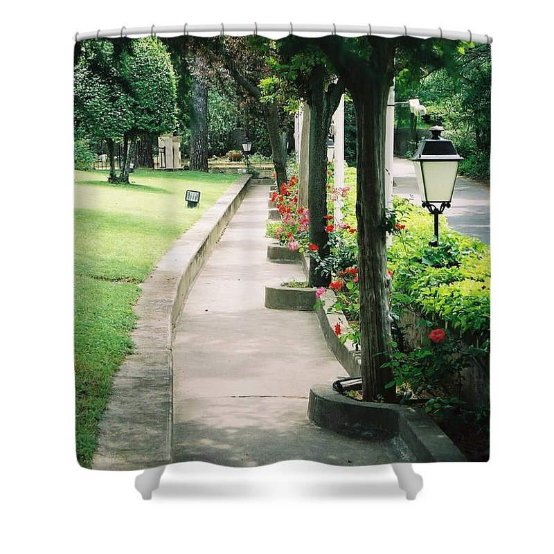 Arles Shower Curtain featuring the photograph Arles Walkway by Nadine Rippelmeyer