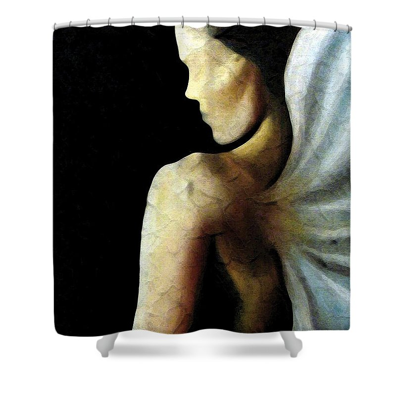 Angel Shower Curtain featuring the painting Armaita Angel Of Truth Wisdom And Goodness by Elizabeth Lisy Figueroa