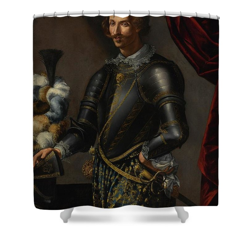Lombard School Shower Curtain featuring the painting Armor With Blue And Gold by MotionAge Designs