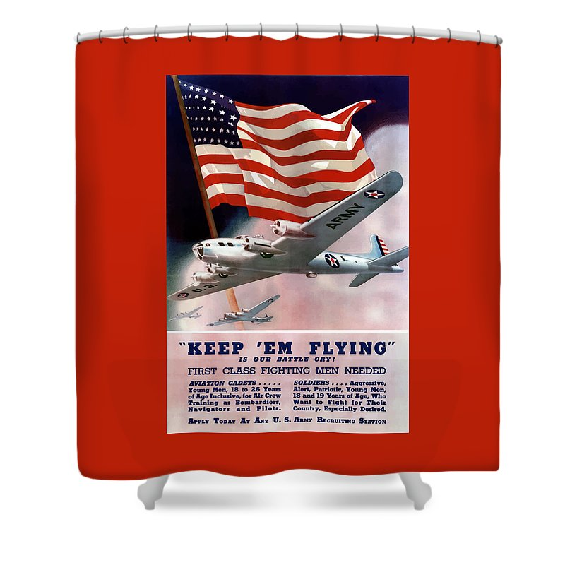Army Shower Curtain featuring the painting Army Air Corps Recruiting Poster by War Is Hell Store