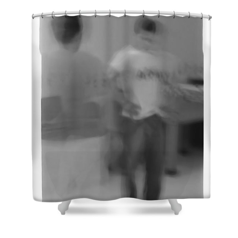 Photo Photography Black And White Digital Graphic Photoshop Head Neck Arm Body Leg Foot Feet Knee Room Floor Wall Door Rules Exit Inverse Negative Dark Army Military Ghost Motion Shower Curtain featuring the photograph Army by Heather Kirk