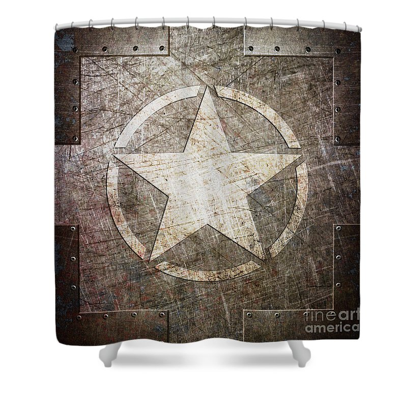 Army Shower Curtain featuring the digital art Army Star On Steel by Fred Ber