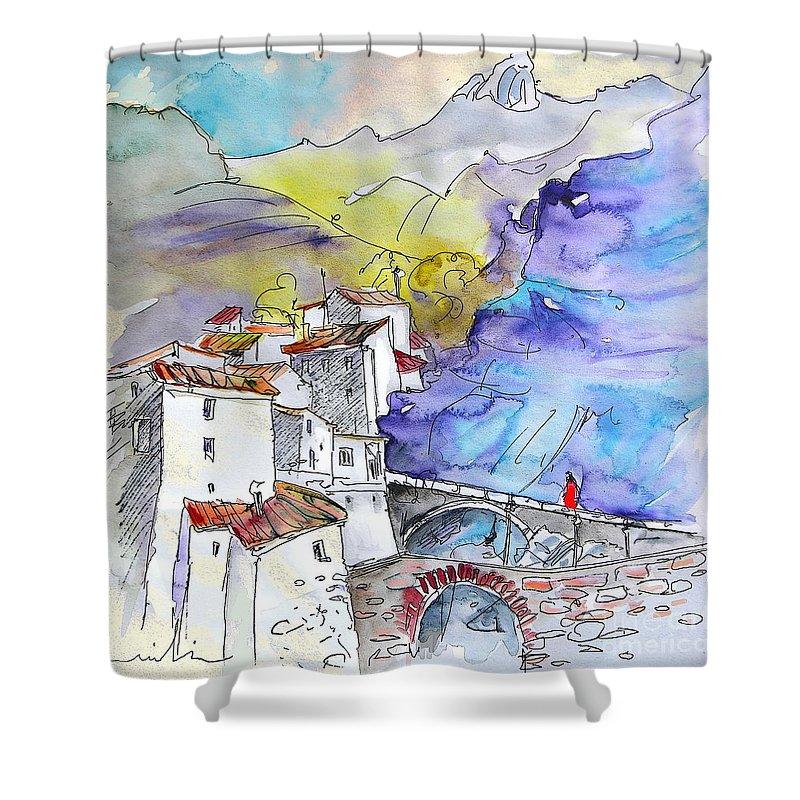 Arnedillo Shower Curtain featuring the painting Arnedillo In La Rioja Spain 02 by Miki De Goodaboom