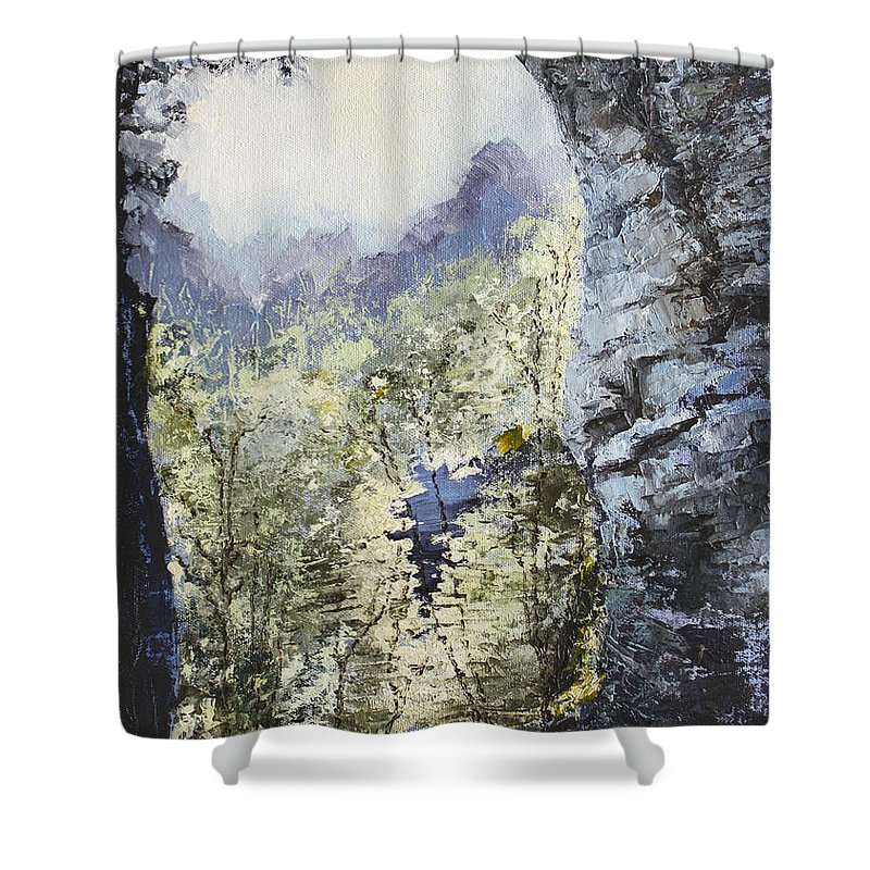 Landscape Shower Curtain featuring the painting Around The Bend by Todd Blanchard