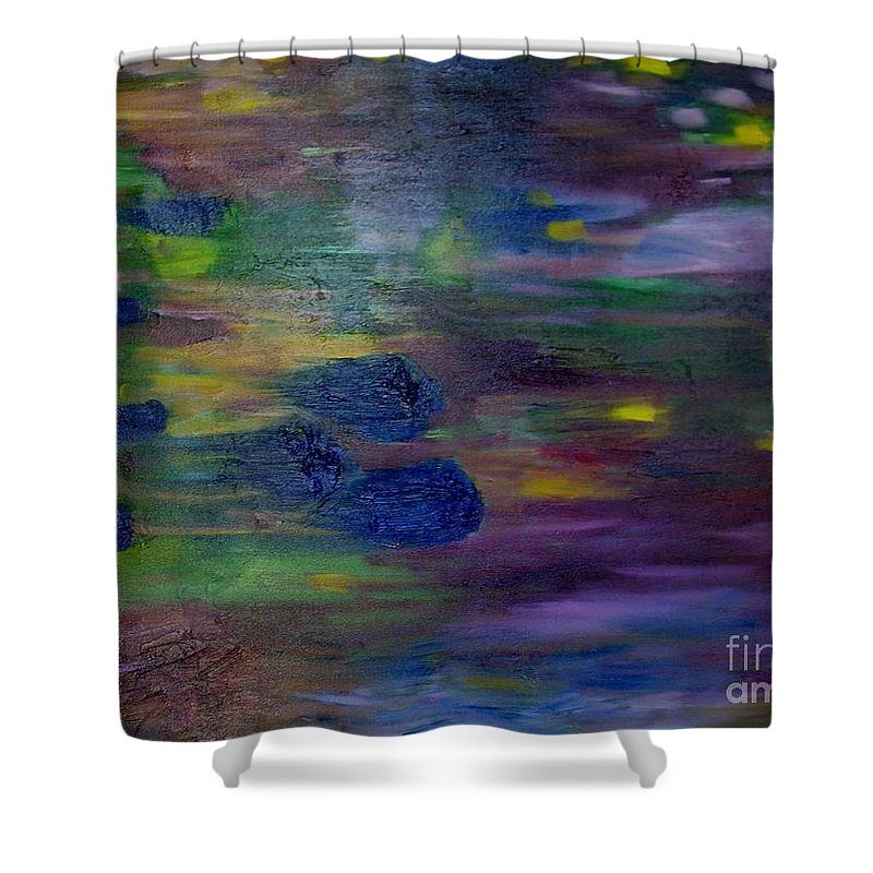 Abstract Shower Curtain featuring the painting Around The Worlds by Laurie Morgan