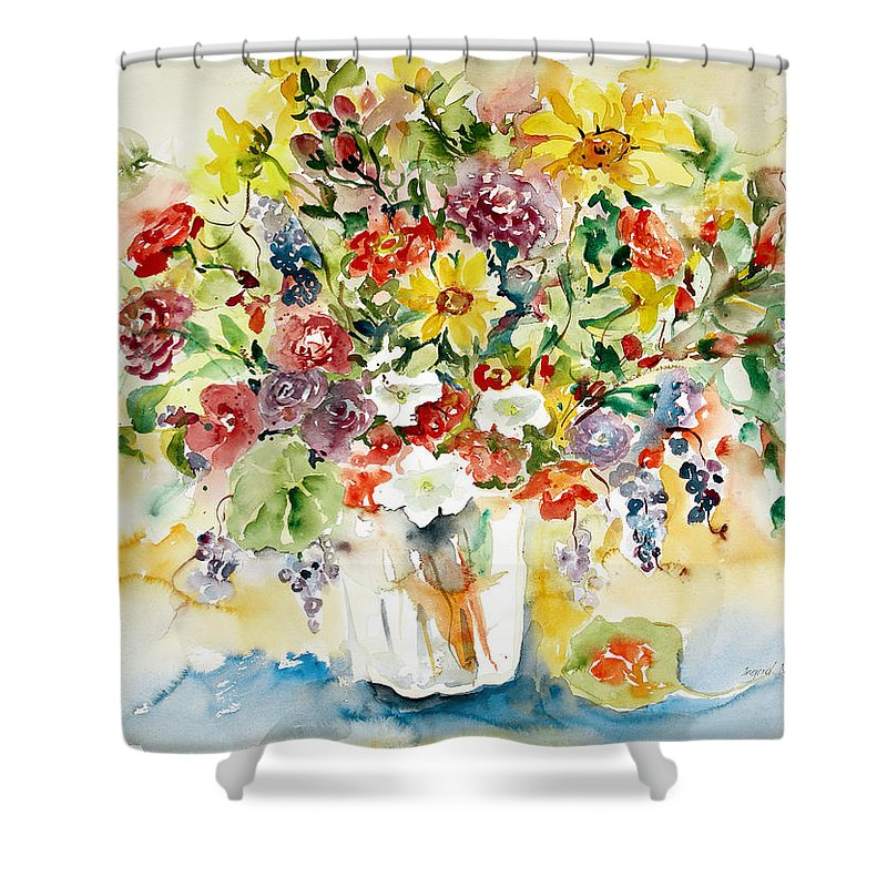 Watercolor Shower Curtain featuring the painting Arrangement IIi by Ingrid Dohm