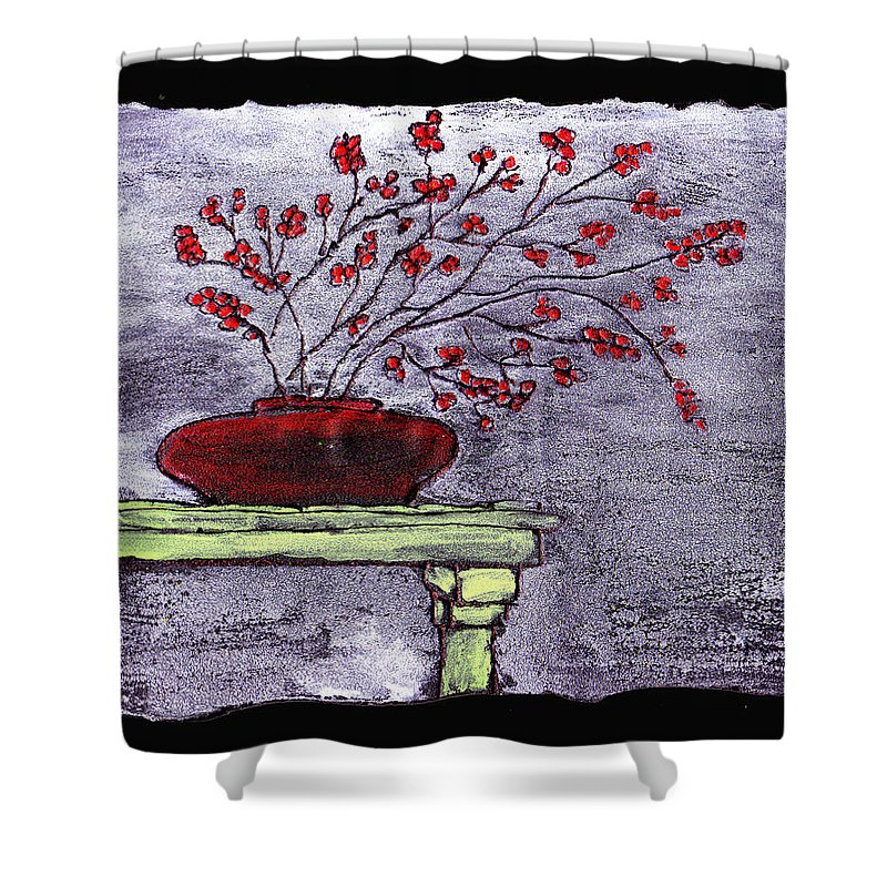 Flower Shower Curtain featuring the painting Arrangement In Red by Wayne Potrafka
