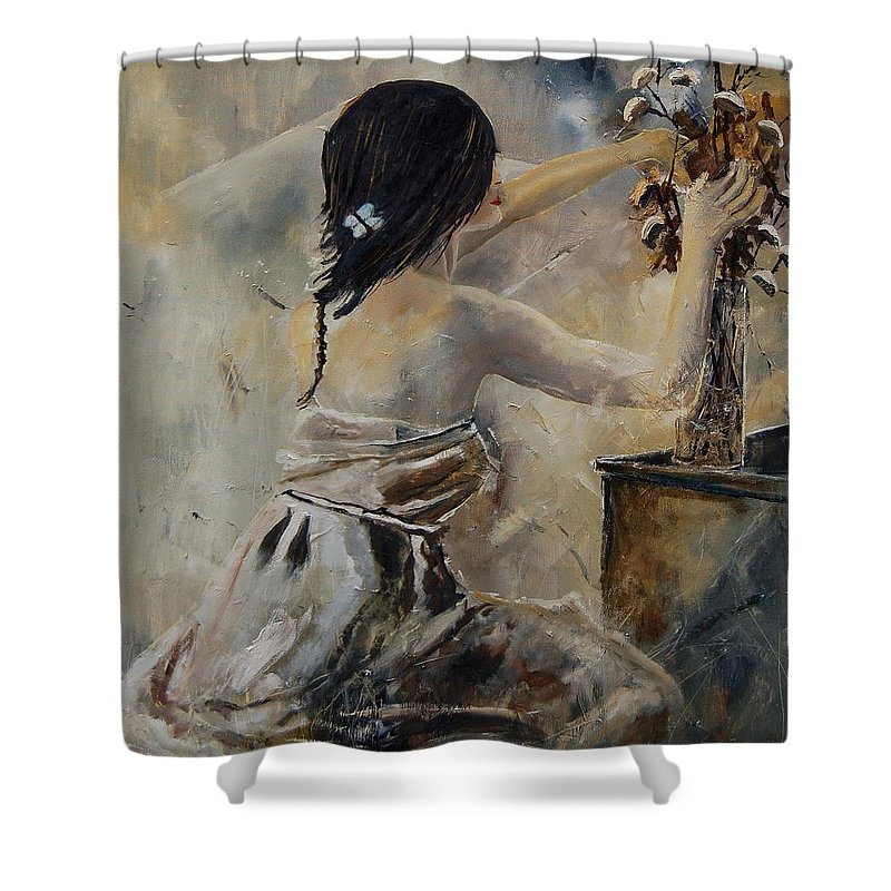 Girl Shower Curtain featuring the painting Arranging Flowers by Pol Ledent