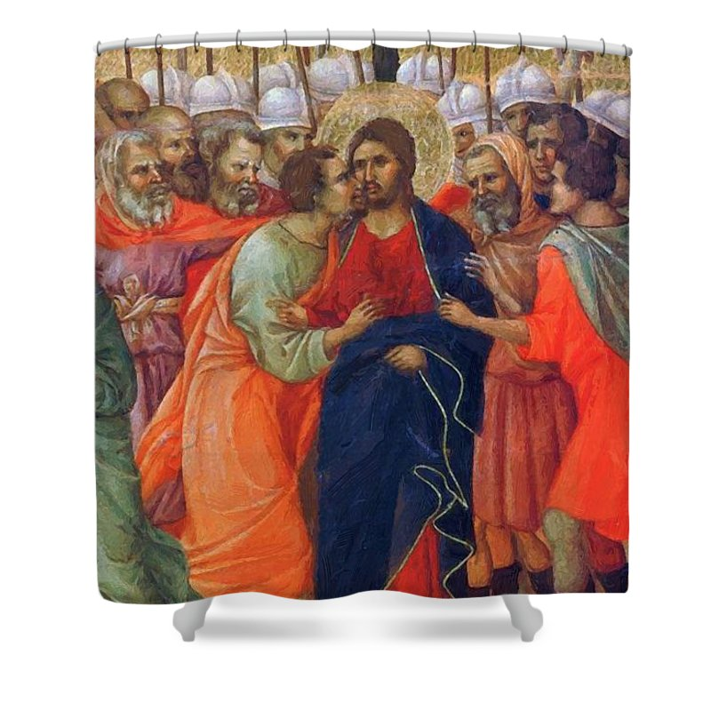 Arrest Shower Curtain featuring the painting Arrest Of Christ Fragment 1311 by Duccio