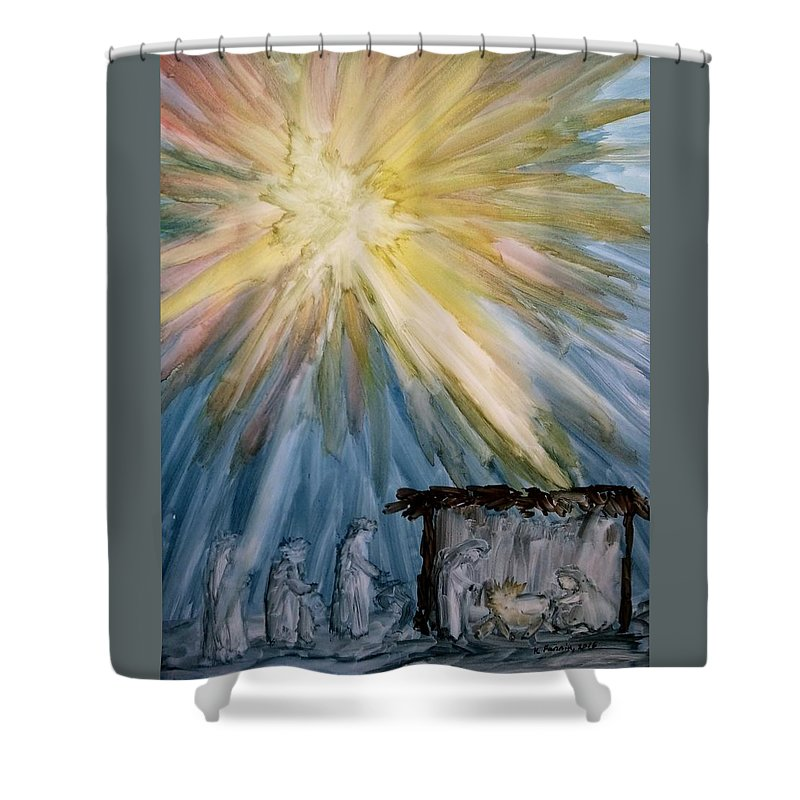 Christmas Shower Curtain featuring the painting Arrival Of Kings by B Kathleen Fannin