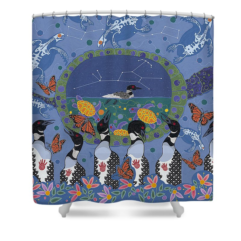 Native American Painting Shower Curtain featuring the painting Arrival Of Wintermaker by Chholing Taha