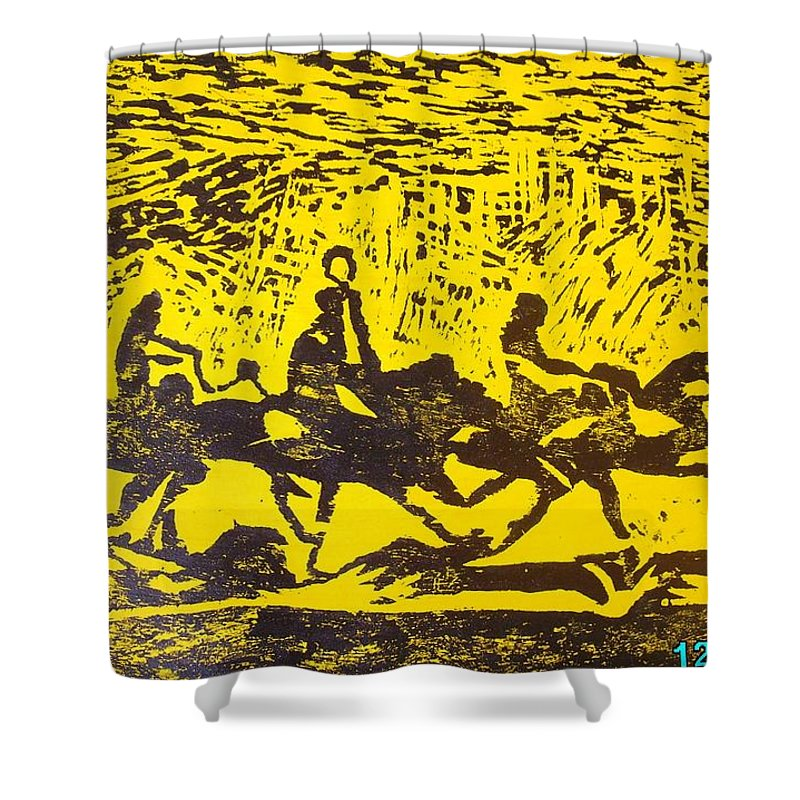 Arrival Shower Curtain featuring the mixed media Arrival by Olaoluwa Smith