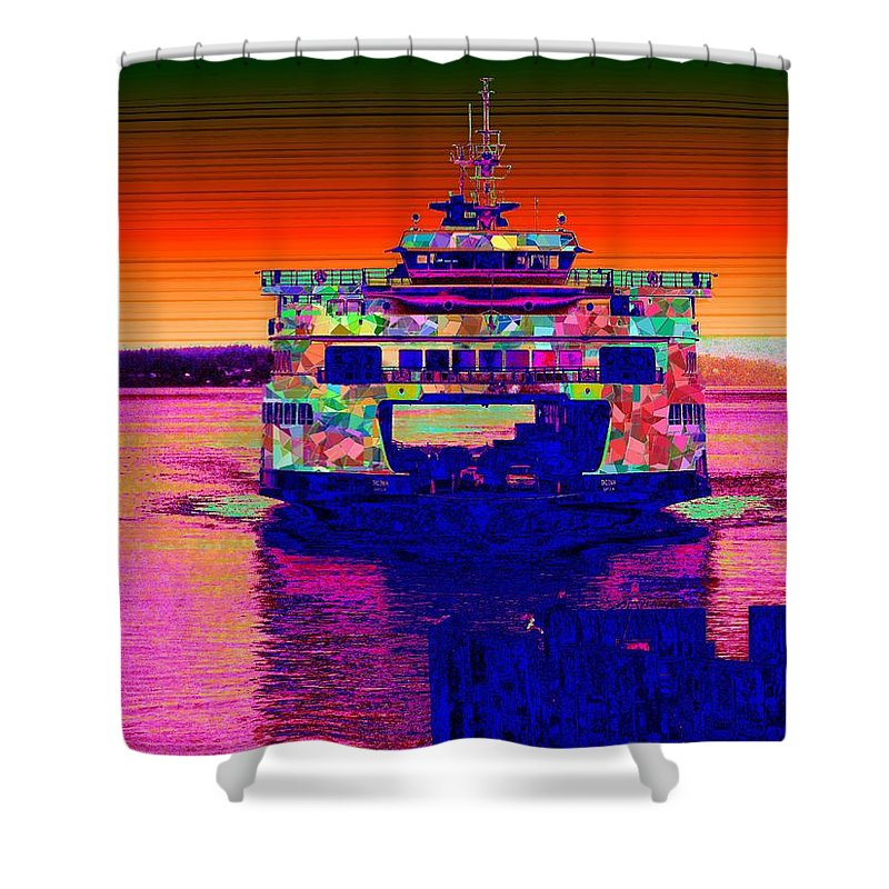 Home Shower Curtain featuring the digital art Arriving Home by Tim Allen
