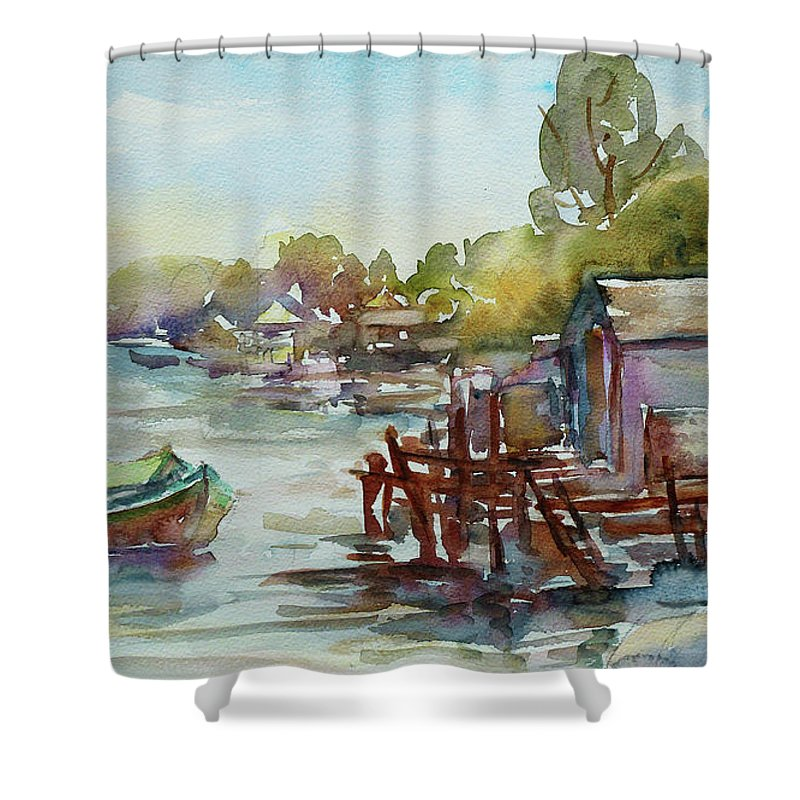 Watercolour Shower Curtain featuring the painting Arriving by Xueling Zou