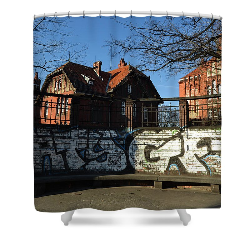 Banco Shower Curtain featuring the photograph Art Bank by Wendy Franco Carballo