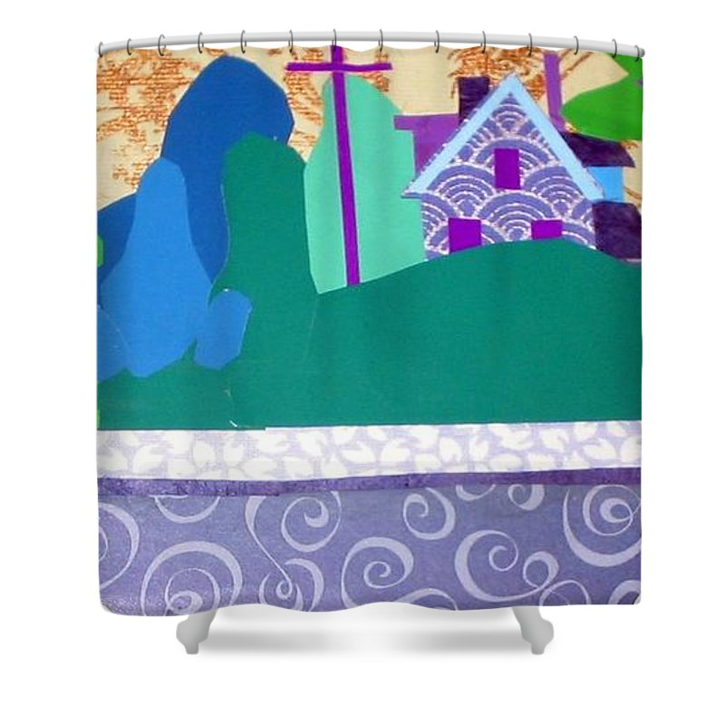 Landscape Shower Curtain featuring the mixed media Art Colony by Debra Bretton Robinson