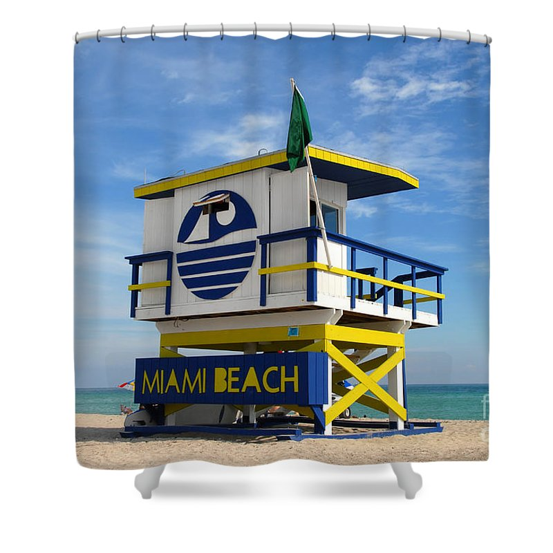 Miami Beach Shower Curtain featuring the photograph Art Deco Lifeguard Stand by David Lee Thompson