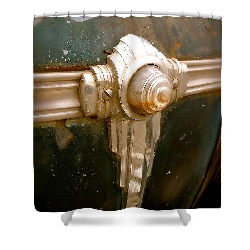 1941 Shower Curtain featuring the photograph Art Deco Olds Trim by Customikes Fun Photography and Film Aka K Mikael Wallin