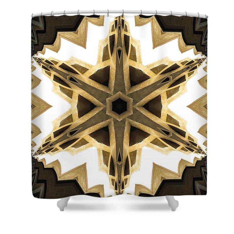 Kaleidoscope Shower Curtain featuring the photograph Art Deco Parquet Star by M E Cieplinski