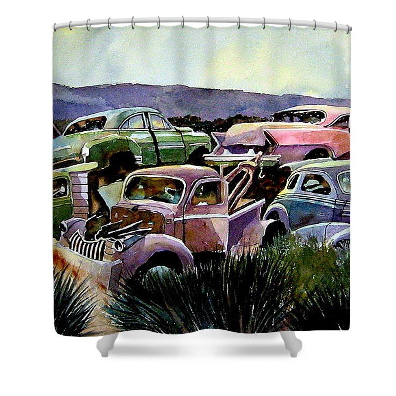 Cars Shower Curtain featuring the painting Art In The Orchard by Ron Morrison