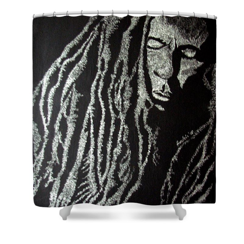 Portrait Shower Curtain featuring the painting Art Of Freedom by Glory Fraulein Wolfe