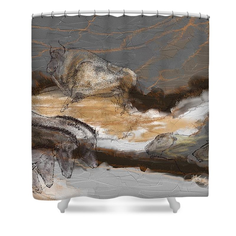 Victor Shelley Shower Curtain featuring the digital art Art Rupestre by Victor Shelley