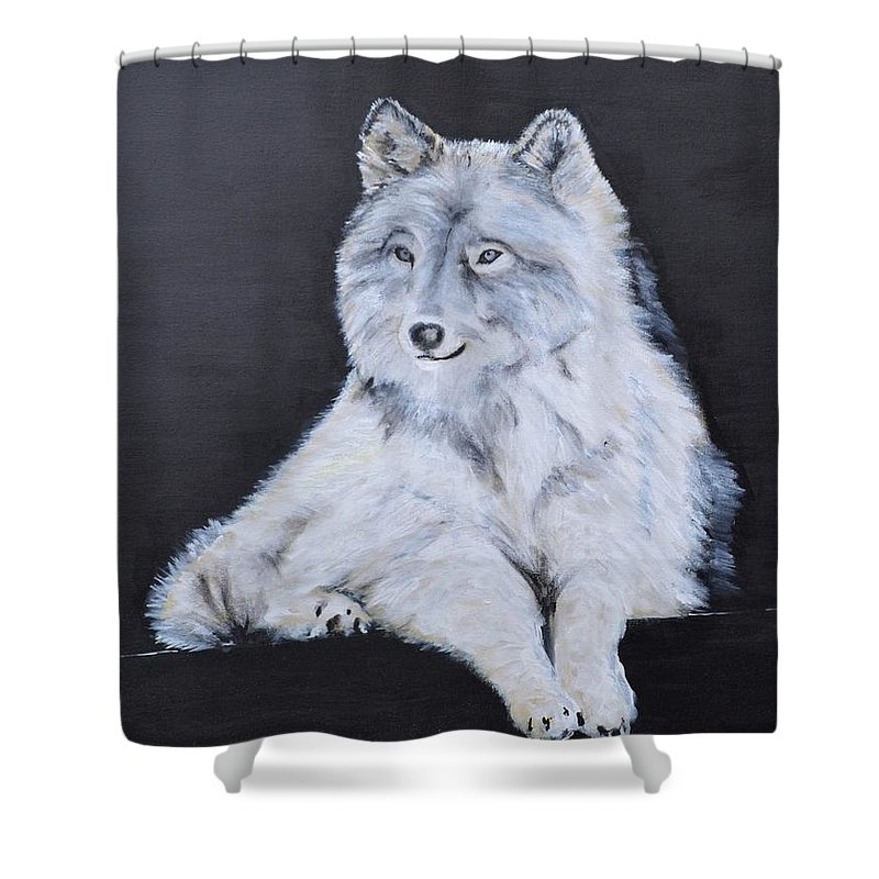 Wolf Shower Curtain featuring the painting Thunder by Jean-Marie Douteur