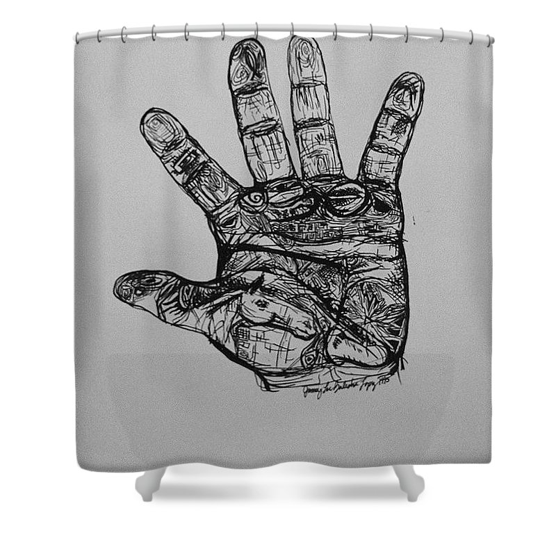 Hands Shower Curtain featuring the drawing Artist Hand Variation I by Jamey Balester